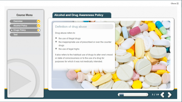 A screenshot of the Alcohol and Drug Awareness Policy course. Providing a definition of drug abuse.