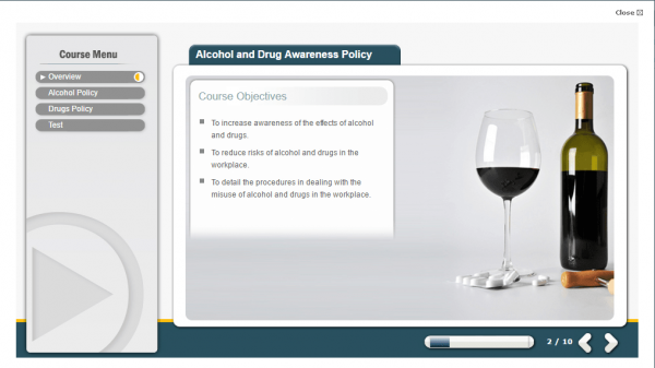 A screenshot of the Alcohol and Drug Awareness Policy course going over the objectives of the course.