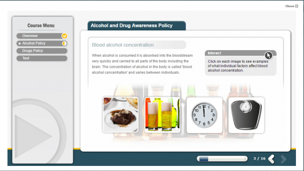 A screenshot of the Alcohol and Drug Awareness Policy course providing an insight into bloog alcohol concentration