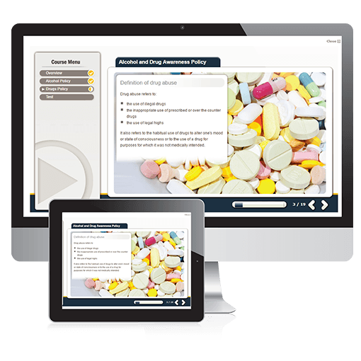 A screenshot of the Alcohol and Drug Awareness Policy course on PC and Tablet.
