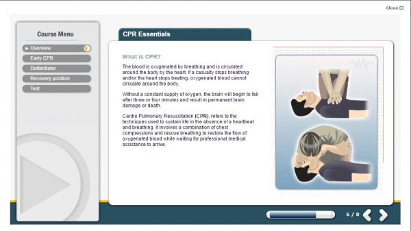 A screenshot of the CPR essentials course highlighting what is CPR