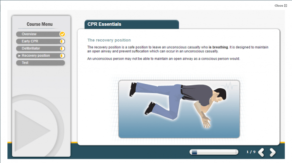 A screenshot of the CPR essentials course, highlighting the correct way to use the recovery position