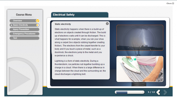 A screenshot of the Electrical Safety course providing users an insight to static electricity.