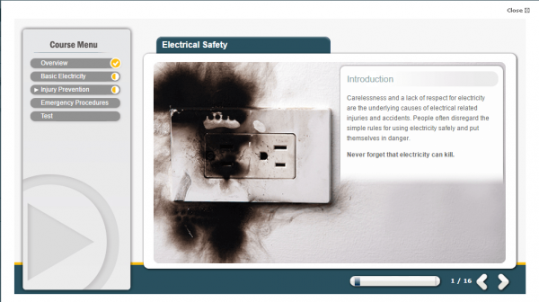 A screenshot of the Electrical Safety course providing an introduction to the course