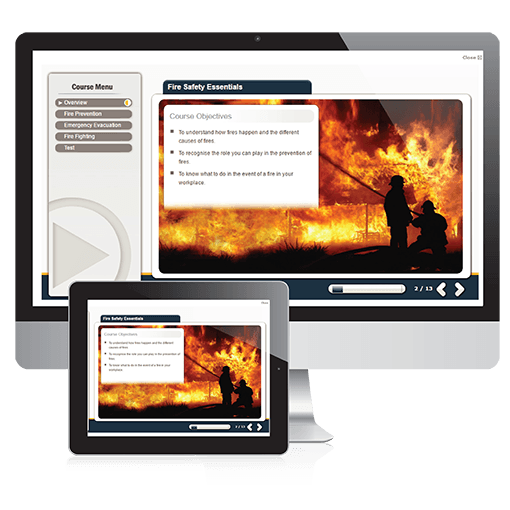 A screenshot of the Fire Safety Essentials course on PC and Tablet