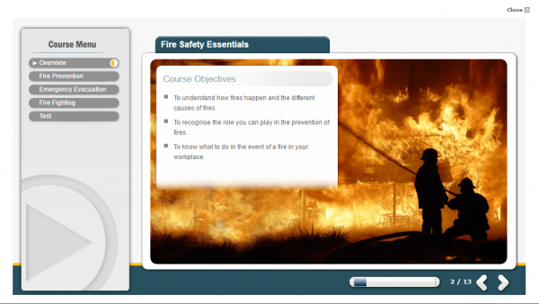 A screenshot of the Fire Safety Essentials course providing the course objectives to users.