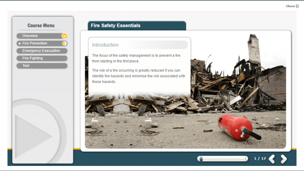 A screenshot of the Fire Safety Essentials course providing an introduction to the course
