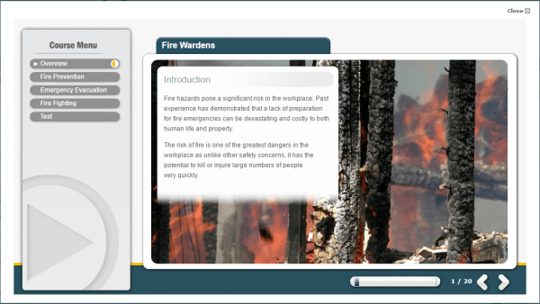 A screenshot of the Fire Wardens course providing an introduction to the course by showcasing potential risks.