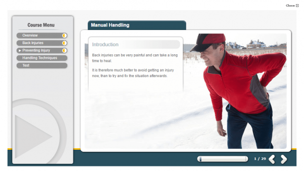 A screenshot of the introduction to the manual handling course.