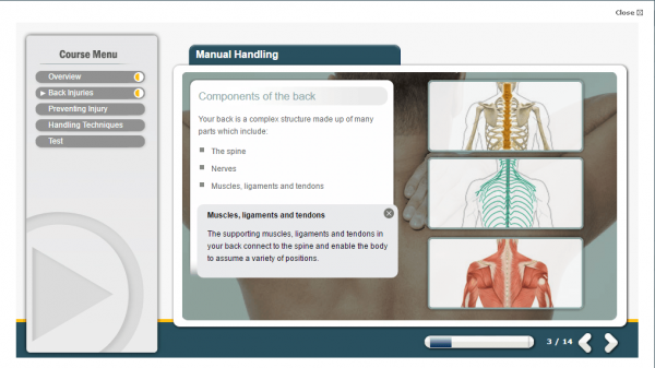A screenshot of the Manual Handling course, covering the components of a person's back