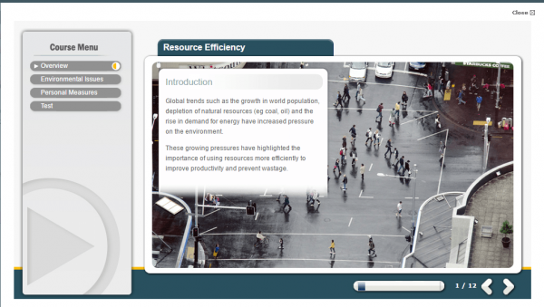 A screenshot of the Resource Efficiency course providing an introduction to the course
