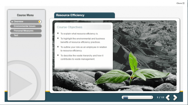 A screenshot of the Resource Efficiency course covering the objectives from the course