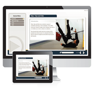A screenshot of the Slips, trips and falls course on PC and Tablet