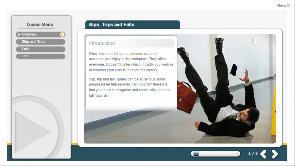 A screenshot of the slips, trips and falls course providing an introduction to the course