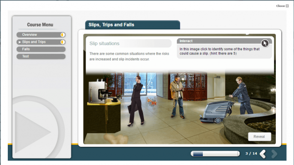 A screenshot of the slips, trips and falls course showcasing various situations that may cause an employee to slip