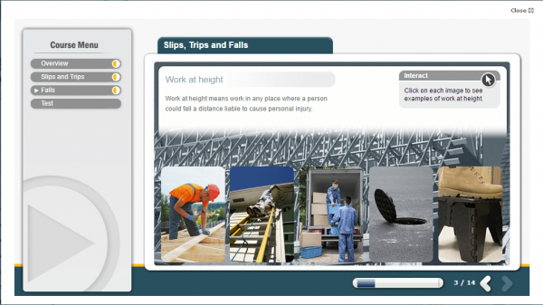 A screenshot of the Slips, trips and falls course describing what it means for employers to work at height