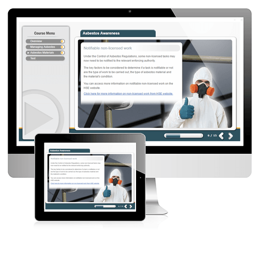 A screenshot of the asbestos awareness course on both PC and tablet/device