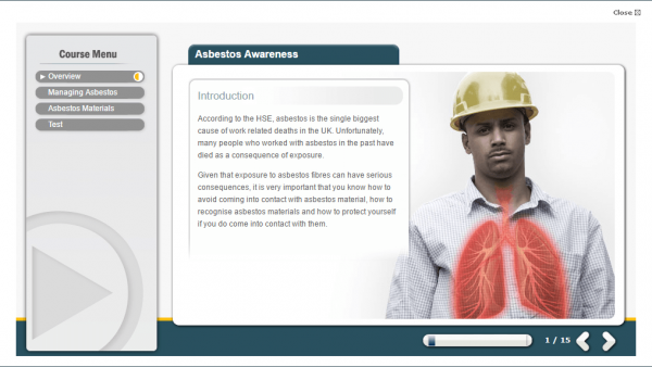 A screenshot of the asbestos awareness course, providing an introduction to the course detailing what asbestos is and the biggest cause for people.