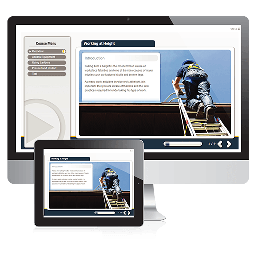 A screenshot of the working at height course on PC and Tablet