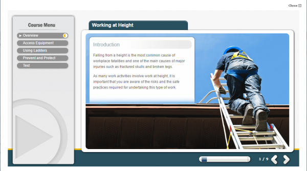 A screenshot of the Working at Height course providing an introduction to the course