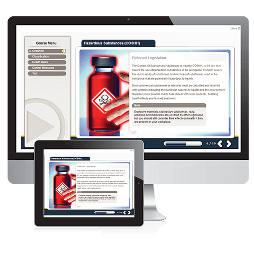 A screenshot of the hazardous substances course on PC and tablet.