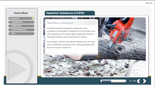 A screenshot of the Hazardous Substances Course detailing what causes substances to be hazardous in the first place.