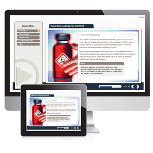 A screenshot of the hazardous substances E-Learning course. Displaying a bottle with toxic red contents within it, and a hand with red overlaying to display the hazardous nature.