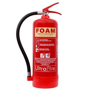 A red, 6 litre foam fire extinguisher with nozzle and lever.