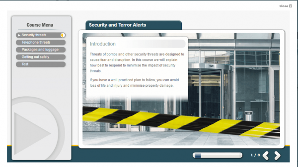 A screenshot of the Security and Terror Alerts course providing an introduction to the course.