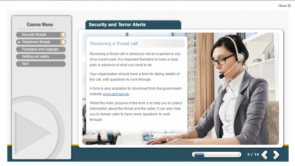 A screenshot of the security and terror alerts course, detailing what is