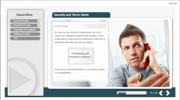 A screenshot of the security and terror alerts course showcasing the first steps needed should a potential threat arises.