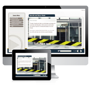 security and terror e-learning screenshot. Showing the exterior of a building while it is it covered in black and white tape.