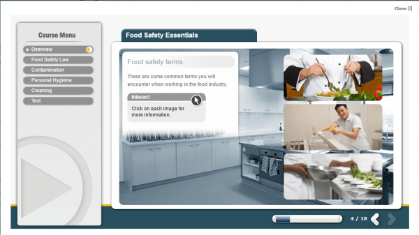 A screenshot of the Food Safety Essentials course showcasing various food safety terms.