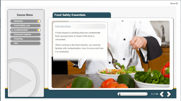 A screenshot of the Food Safety Essentials course providing an insight into the course
