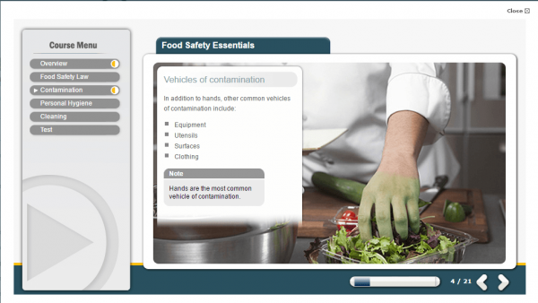 A screenshot of the Food Safety Essentials course showcasing the vehicles of contaminations