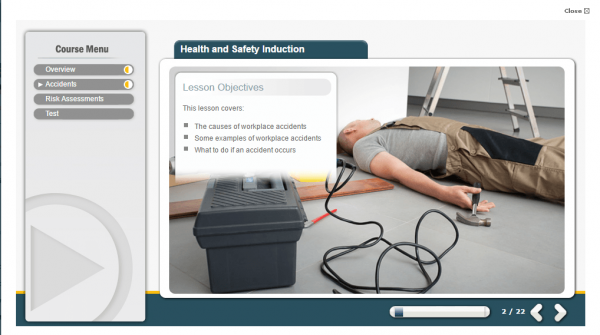 A screenshot of the Health and Safety induction course providing the lesson objectives of the course.