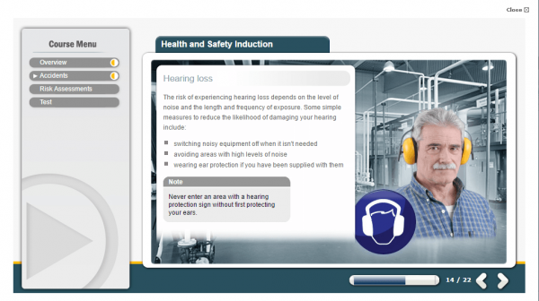 A screenshot of the Health and Safety Induction course showcasing the damage caused with hearing loss