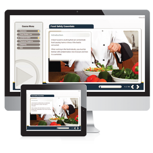 An introduction screenshot to the food safety E-Learning course provided by Foursquare Group. Showing a chef properly preparing a salad.