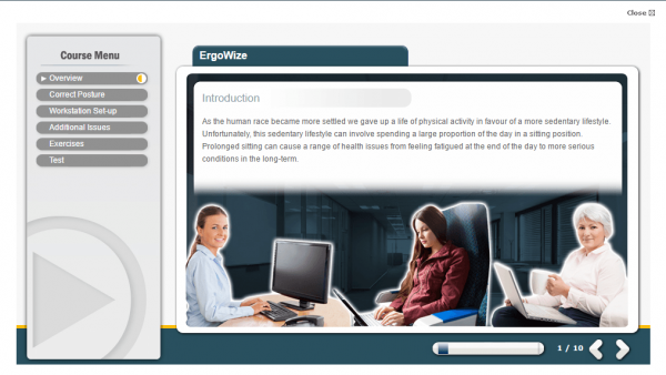 A screenshot of the ErgoWize online course providing an introduction to the course.