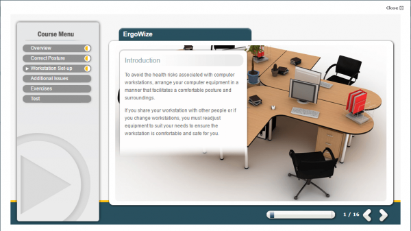 A screenshot of the ErgoWize course providing an introduction to the course.