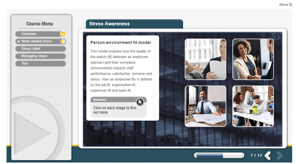 A screenshot of the stress awareness course, explaining the impact stress can have in the workplace.