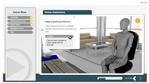A screenshot of the stress awareness course teaching users deep breathing exercises