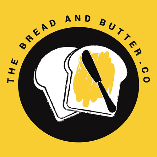 A yellow, black and white illustration of the Bread and Butter Co logo