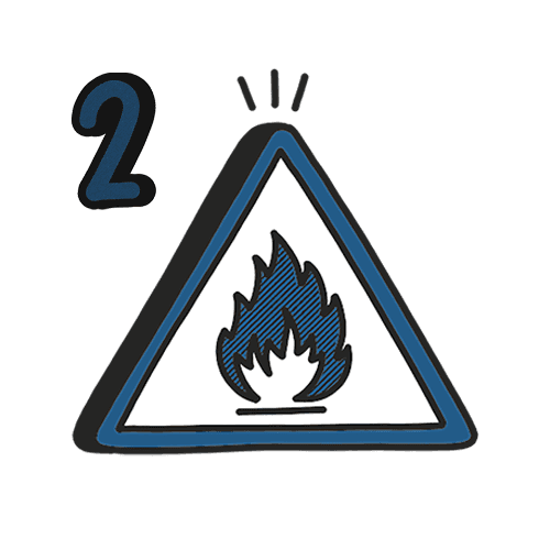 A white, blue and black illustration of a fire safety sign with the number '2' in the top left.