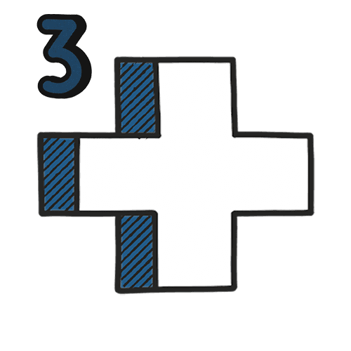 A white, blue, black and clear illustration a medic cross with the number '3' in the top left - This is to showcase the health and safety level 3 training