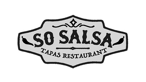 A black and white logo of the 'So Salso Tapas Restaurant'