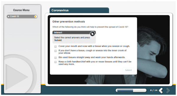 A screenshot of the Coronavirus course. Providing a multiple choice scenario of the best ways to prevent the spread of COVID-19.