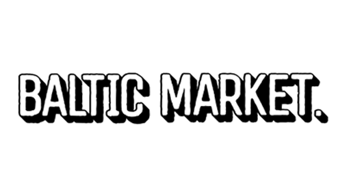 black and white logo for the Baltic market food hall in Cains brewery in Liverpool
